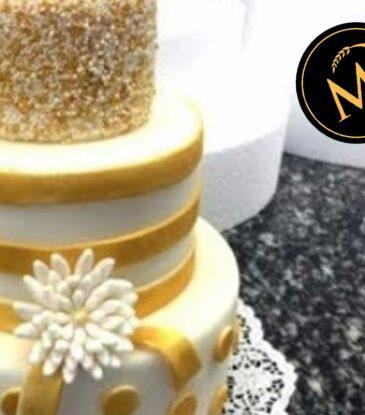3-stöckige Hochzeitstorte in Gold