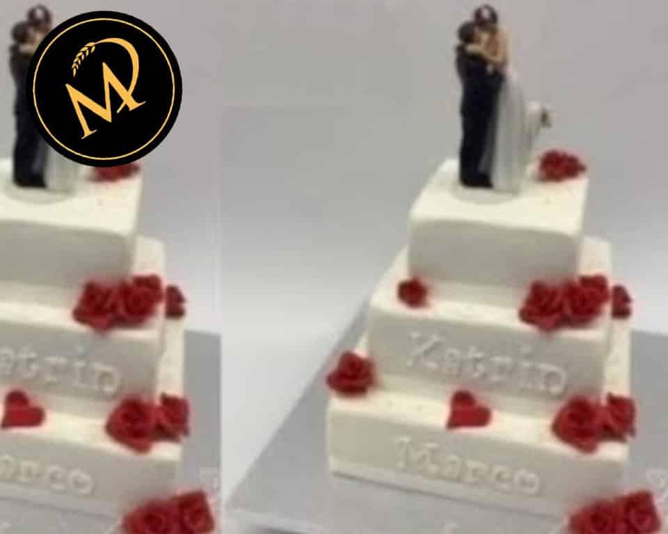 3-stöckige Hochzeitstorte eckig mit roten Rosen - Rezept Marcel Paa