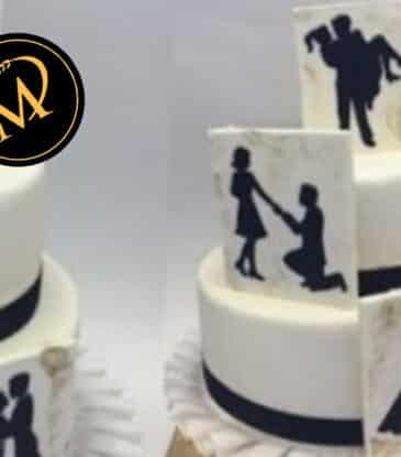 Hochzeitstorte mit Love Story