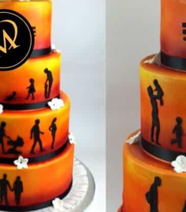 Airbrush Silhouetten Hochzeitstorte