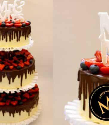 3-stöckige Drip Cake Hochzeitstorte