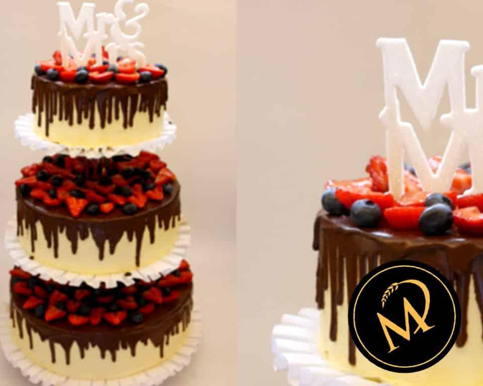 3-stöckige Drip Cake Hochzeitstorte - Rezept Marcel Paa