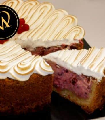 Johannisbeer Skyr Kuchen mit Baiser